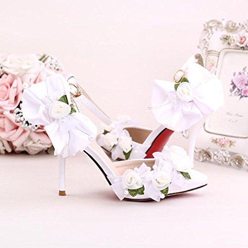 Si& scarpe da sposa donna/damigella d'onore e sposa/fiore beaded handmade/heel stiletto/punta punta/sandali con tacco alto, bianca, cn38