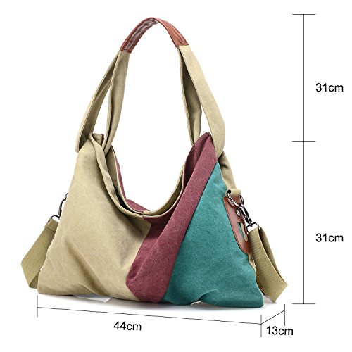 Young & Ming - Attraversare colore tela Donna femmina grande borsa tracolla Borsa a spalla Shoulder bag Verde