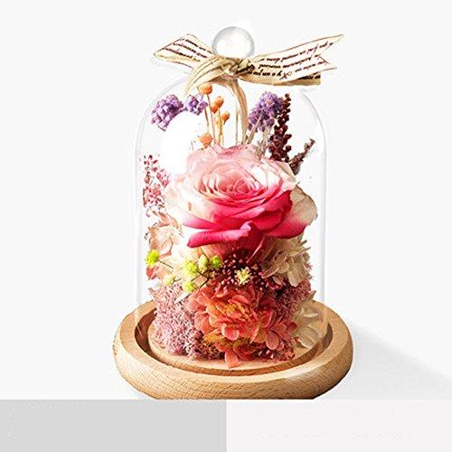Hcp zsh eterno regalo di fiori scatola vetro rosa fiore bouquet ornamenti regalo di san valentino di compleanno,j