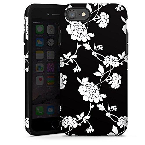 Apple iPhone X Silikon Hülle Case Schutzhülle Blumen Muster Schwarz Tough Case glänzend
