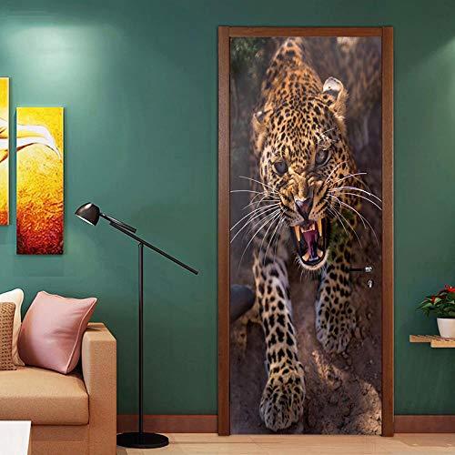 FCFLXJ 3D Animal leopardo 77X200CM Habitaciones De Vinilo Etiqueta De La Puerta Papel Tapiz Murales Murales Pegatinas Carteles Pegatinas de Pared Diy Decoraciones Papel Pintado Arte Decoración del