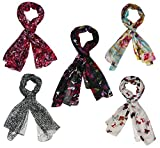 INDIAN FASHION GURU Womens Set of 5 Polycotton stoles and scarf