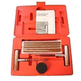 Reifenreparaturset Reparatur Reifen für LKW Traktor inkl. 35 Vulkanisierstreifen, Fettdose, stabiles Werkzeug im roten Koffer