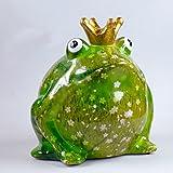 Süße Spardose ~ Froschkönig ~ Pomme Pidou greenline Frosch Sparbüchse (B - Blumen weiß)