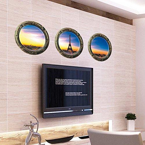 Preisvergleich Produktbild 3er vor der Morgendämmerung Eiffelturm Ansicht Ansicht Faux u Fenster teilweise mattiert Zuckerguss Wandbilder Wandtattoo 3D entfernbare Wandsticker für Schlafzimmer Home Arts stumpf polnische