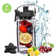 OMORC【2 in 1 26oz/750ml Protein Shaker Bottle & Fruit Infuser Water Bottle, BPA Free Leak-proof Tritan Sport Bottle with fruit infuser, Shaker Ball, Free E-Recipe and A Bonus Cleaning Brush