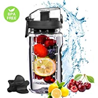 OMORC【2 in 1 26oz/750ml Protein Shaker Bottle & Fruit Infuser Water Bottle, BPA Free Leak-proof Tritan Sport Bottle with fruit infuser, Shaker Ball, Free E-Recipe and A Bonus Cleaning Brush