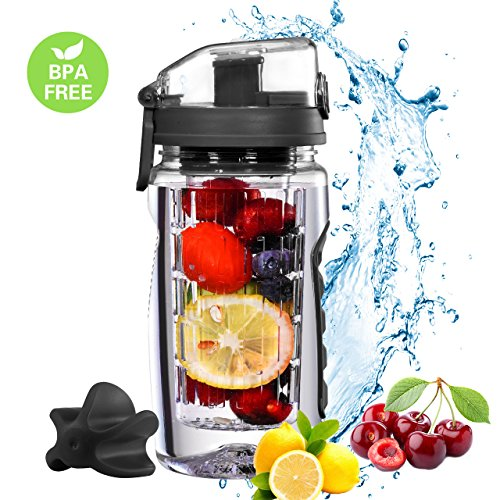 OMORC Fruit Infuser Wasserflasche Protein Shaker Flasche 2-in-1-Wasserflasche, 750ml Auslaufsicher BPA-Frei Sport Trinkflasche mit Shaker Ball für Zuhause Sport Fitness Kinder Erwachsen(Schwarz)