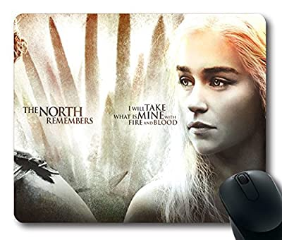 Custom TV Mouse Pad with game of thrones season 4 daenerys targaryen jon snow main characters Non-Slip Neoprene Rubber Standard Size 9 Inch(220mm) X 7 Inch(180mm) X 1/8 Inch(3mm) Desktop Mousepad Laptop Mousepads Comfortable Computer Mouse Mat