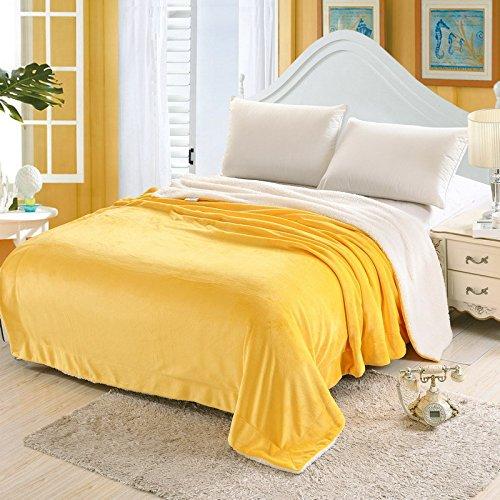 Simmia Home Flanell Fleece Wurfdecken Super Soft Fluffy Warm Solid Bed wirft für Sofa Luxus Mikrofaser Decke Austin Yellow (Gelb) König Größe 200 x 230 cm (Decke König Gelbe)