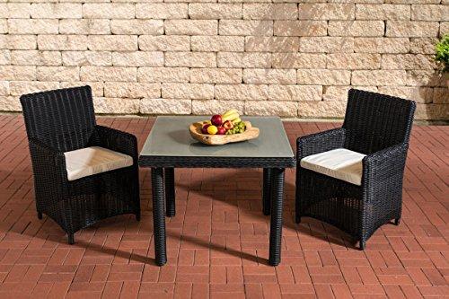 Gartenmöbel, Gartenmöbel-Set, Sitzgruppe Dorado M100, schwarz / creme-weiß, Polyrattan-Aluminium-Gestell, Gartengarnitur, Sitzgarnitur.