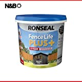 Best Fence Paints - Ronseal RSLFLPPCG5L Fence Life Plus, Charcoal Grey, 5 Review