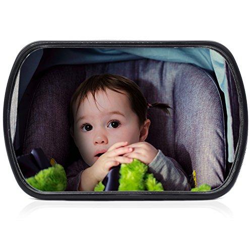 CARTO Espejo retrovisor de coche para bebés, pivotante, 16,8 x 10,5 cm, fácil de montar aporta sensación de seguridad- con 2 años de garantía de devolución de dinero