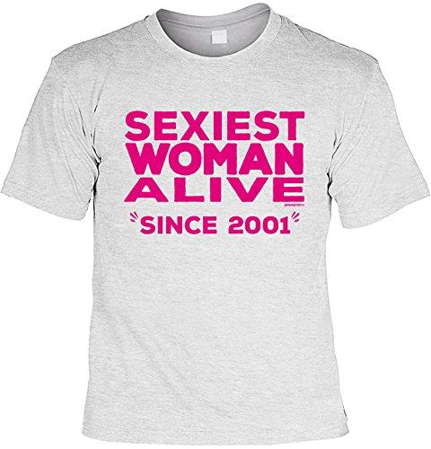 T-Shirt zum 16. Geburtstag Sexiest Woman Alive since 2001 Geschenk zum 16 Geburtstag 16 Jahre Geburtstagsgeschenk 16-jähriger Grau