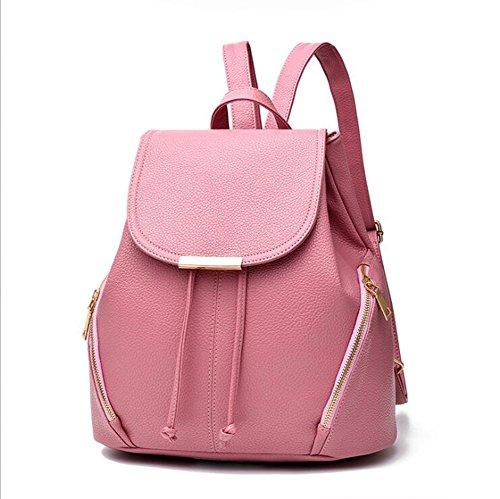 LXYIUN Damen Leder Rucksack,Mode Polyester Taschen College Wind Schulranzen,Pink