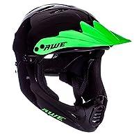 AWE® FREE 5 YEAR CRASH REPLACEMENT* BMX Full Face Helmet Black Green Medium 54-58cm