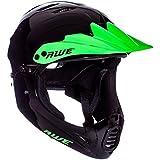Casco completo de 54 - 58 cm, en color negro y verde, de la marca AWE®