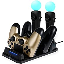 Lictin Charging Dock Station for Two PS4/PSVR/Move Motion Controllers Dual Shock 4 Controller Charger PlayStation 4 USB Charging Station with LED Indicator 1 USB Cable(20*11)