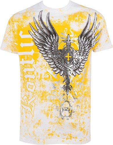 Sakkas Große Wächter metallischen geprägte Männer-Mode-T-Shirt Weiß