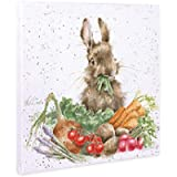 Wrendale Designs 'Grow Your Own' Rabbit Print on White Square Canvas 20 centimeter