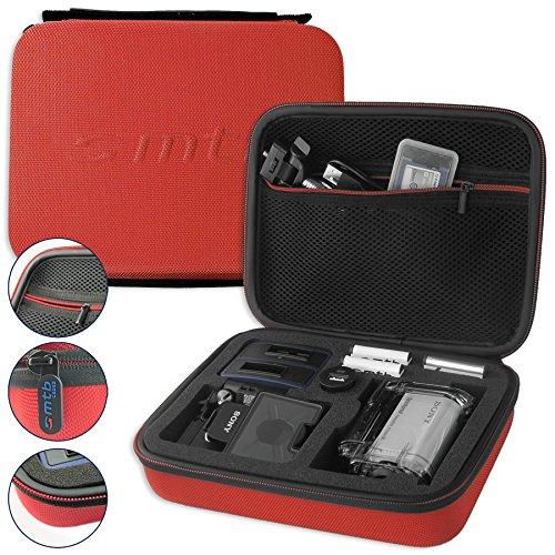hutztasche XL für Sony FDR-X1000V, X3000R / HDR-AZ1, AS300(R), AS200V, AS100V, AS50 ... - Rot - Koffer Case Stecksystem Modular ()