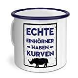 Emaille-Tasse mit Spruch: Echte Einhörner haben Kurven (Schild) - Metallbecher mit Design Layout - Nostalgie-Becher, Camping-Tasse, Blechtasse, Blau