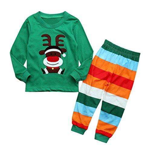 Kinder Tops Hosen, Janly Kind 2Pcs Xmas Printing Outfit mit Deer Pullover gestreifte lange Hose für 1-7 Jahre jungen Mädchen Pyjamas (Alter: 3-4 Jahre alt, (Gestreifte Pyjamas Kostüm)