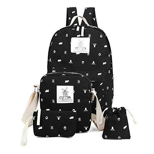 Minetom 4 Pezzi Clutch Bag Messenger Piccole Tasche Tela Borsa Zainetto Donna Spalla Zaini Scuola Superiore Zainetti Ragazze Nero