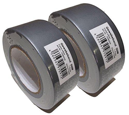 2 Rollen Faba Pro Gewebeband silber 50mm x 50m Klebeband Gaffa Tape Duct Gaffer Lasso Panzertape