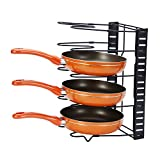 KuanGuang Height Adjustable Kitchen Pan Holder Rack Pot Lid Organizer Standing Storage Shelf Cookware Holders Cabinet Pantry (5 Compartments, Stainless Steel, Black)
