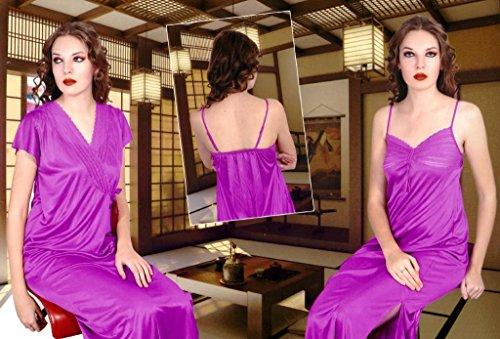 Odishabazaar Women's Silk Satin Nighty Overcoat Purple 2pc Set Sleepwear Sexy Dress-Free Size
