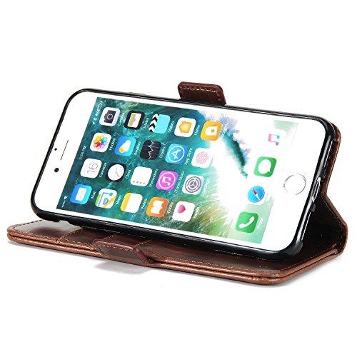 SunFay Coque Pour iPhone 8, Etui Portefeuille à rabat Magnétique PU Cuir Housse Flip Mince Couverture Antichoc Protection avec Support Slots de cartes Case Cover pour iPhone 8 - Rouge Café