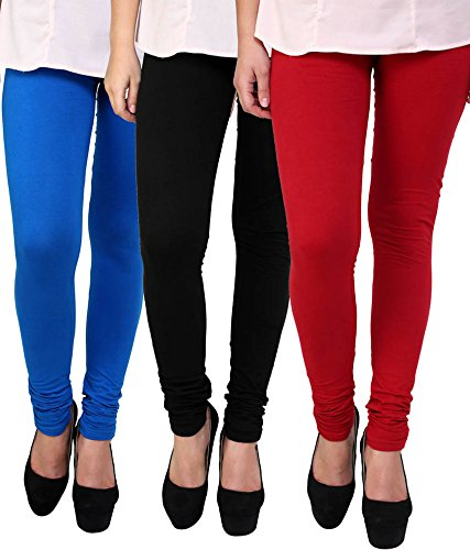 M.G.R.J Women\'s Cotton Lycra Churidar Leggings Combo (Pack of 3 Black, Blue, Red) - Free Size