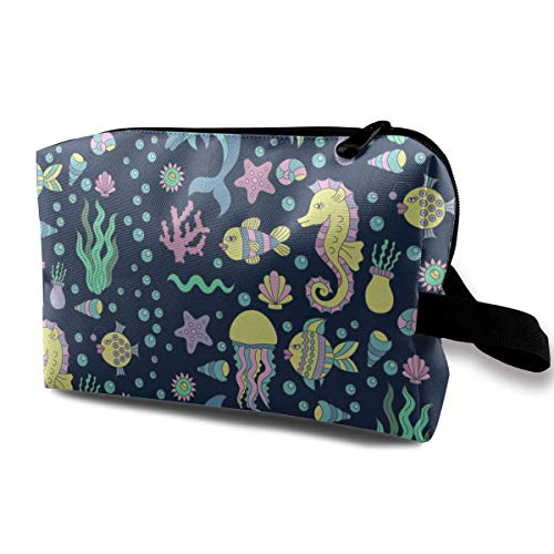 Travel Hanging Cosmetic Bags Doodles Fish Dolphin Multi-Functional Toiletry Makeup Organizer -