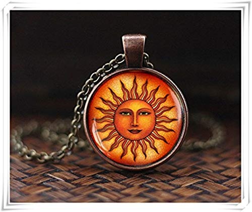 Sun Halskette, Vintage Renaissance Sonne, Astrologie Anhänger