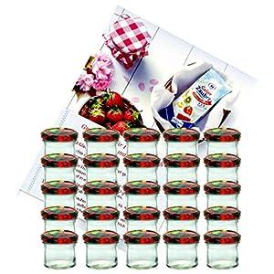 MamboCat 25er Set Sturzglas 125 ml Marmeladenglas Einmachglas Einweckglas to 66 Obst Dekor Deckel incl. Diamant-Zucker Gelierzauber Rezeptheft