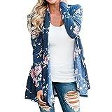 Damen Cardigan feiXIANG Open Front Kimono Casual Floral Jacke Mantel S-XXL(Blau,M)