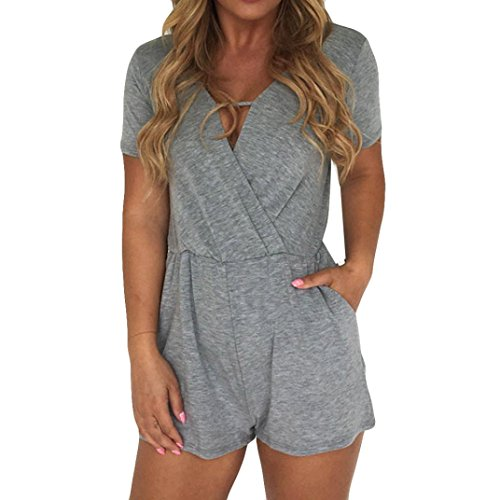 Wawer Women Summer Jumpsuits Causal Solid Short Sleeve Cotton Romper Jumpsuit   Holiday Ladies Sexy Bodycon Party Clubwear Playsuit Romper  XL  Gray