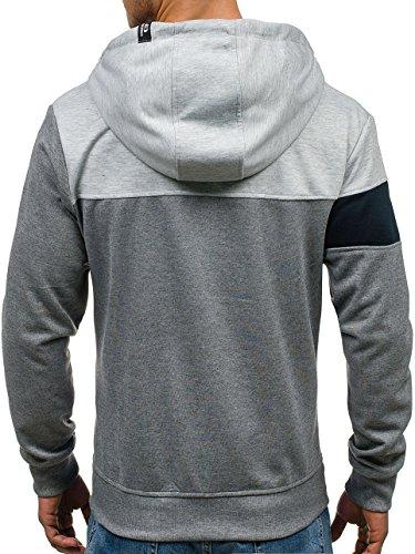 BOLF – Felpa – Cappuccio – Maniche lunghe – Sweat-shirt – Hoodie – Zip – Motivo – Uomo [1A1] Grigio scuro-Grigio