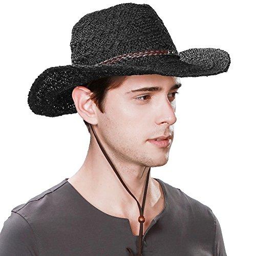 SIGGI unisex Cowboy Stroh Hüte Formbare Krempe mit Kinnriemen schwarz (Cowboys Garten)