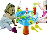 Blossom 25 Pcs Playing Water paradise Fishing Game Chair Set (Battery Operated) with Paddling game,Electric Rotation,Hook Skill Fishing,Bright Flashing Lights and Dazzling Sounds for Kids,Multi Color