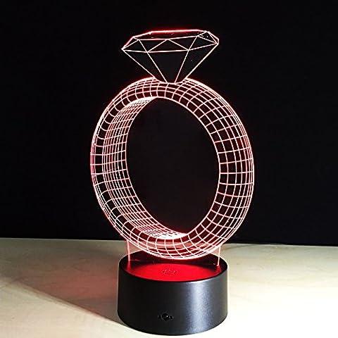 YRZT Anello di diamante una lampada da tavolo decorativa piccola di tocco creativo 3D visual e colorato