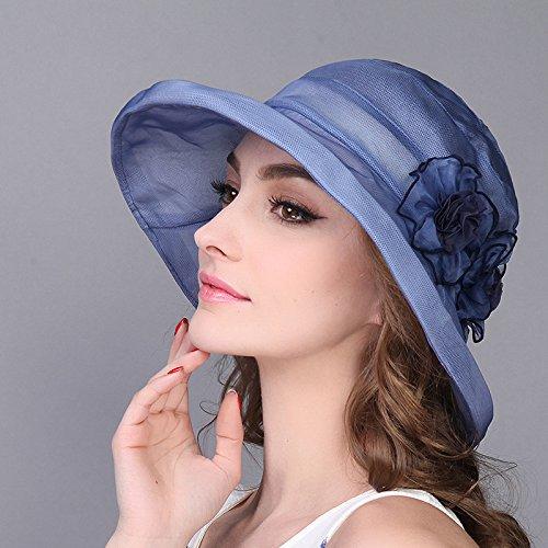 Kinder Sommer Blumen cap Elegante seide Mützen outdoor Sonne Hüte Hüte aus Seide, Rim (56-58 cm) Ice Blue (Blue Pirat Mantel)