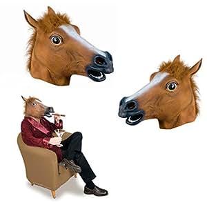 Deluxe Erwachsene Pferd Maske braun mit Fell-main