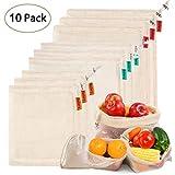 Ballery Sacs Réutilisables à Fruits et Légumes, Sac en coton réutilisable, sacs réutilisables en maille, Résistant, Lavable,...
