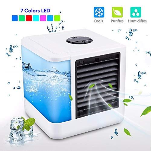 Mobile Klimaanlage Wohnung Klein Portable USB Mini Luftkühler Leise Luftbefeuchter und Luftreiniger mit Wassertank LED Leakproof New Filter 3 Geschwindigkeiten für Auto Home -