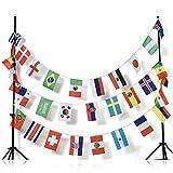 AZ FLAG FAHNENKETTE FUßBALL-Weltmeisterschaft 2018 Russland 13 Meter mit 32 flaggen 30x20cm- World Cup Football Russia Girlande Flaggenkette 20 x 30 cm