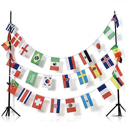 GUIRNALDA 13 metros 32 banderas de la COPA MUNDIAL DE FÚTBOL DE 2018 RUSIA 30x20cm - bandera COPA DEL MUNDO DE FOOTBALL 20 x 30 cm - banderines - AZ FLAG