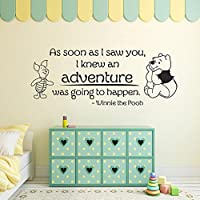 Winnie the Pooh Wall Decal – appena i Saw you, i Knew an Adventure was going to Happen. – Disney vinyl Wall Sticker quote (marrone scuro, 55,9 cm H X57
