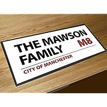 Nombre de la familia personalizado Londres placa de calle bar contador de corredor alfombra